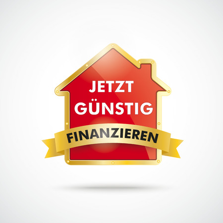 financing: Infographic with house on the white background. German text jetzt guenstig finanzieren, translate attractive financing now. Illustration