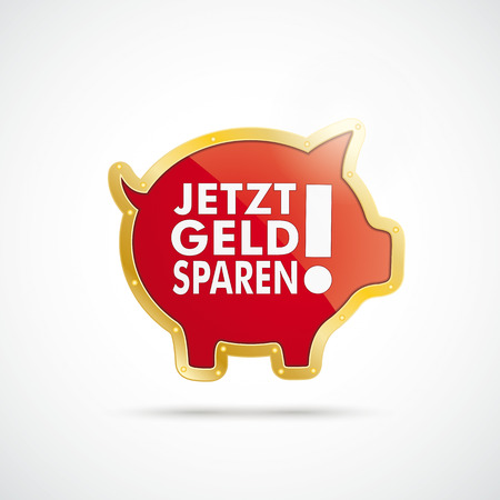 Infographic with golden piggy bank on the white background. German text jetzt geld sparen translate save money now.  Illustration