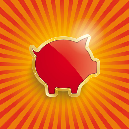 fonds: Golden piggy bank with sun stripes and orange colors.