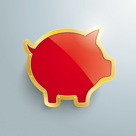 fonds: Golden piggy bank on the grey background.  Illustration
