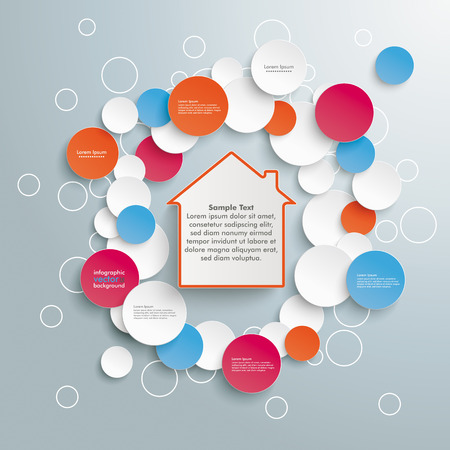 Infographic design with house on the grey background.  Vector