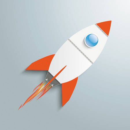 Paper rocket on the grey background.  Vector