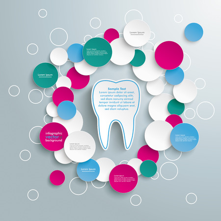 buble: Infographic design with tooth on the grey background.