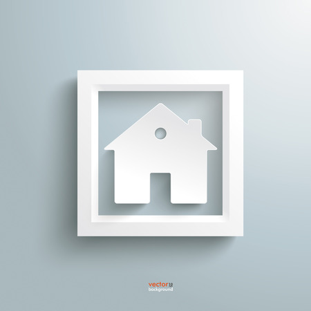 oblong: Template rectangle design with white house on the grey background. Illustration