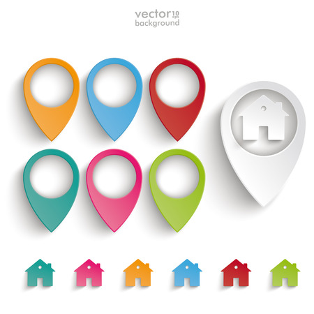 Infographic with location markers and houses on the grey background.  Vector