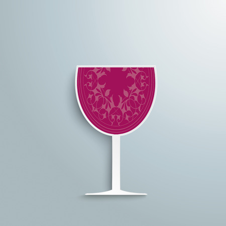 white riesling grape: Red wineglass on the grey background.