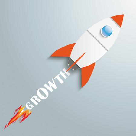 fonds: Paper rocket on the grey background.  Illustration