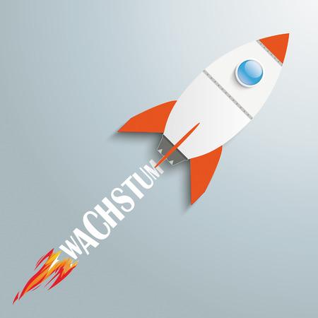 fonds: Paper rocket on the grey background. German text Wachstum, translate Growth.