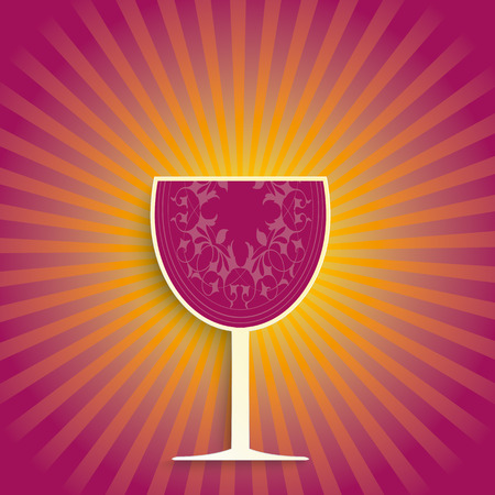 white riesling grape: Wine glass with sun stripes and orange colors. Illustration