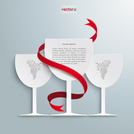 white riesling grape: White wineglasses red flag on the grey background.  Illustration