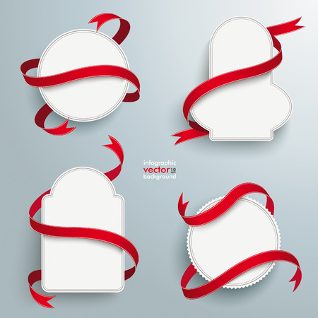 Infographic design white emblems and long red flags on the grey background. Vector