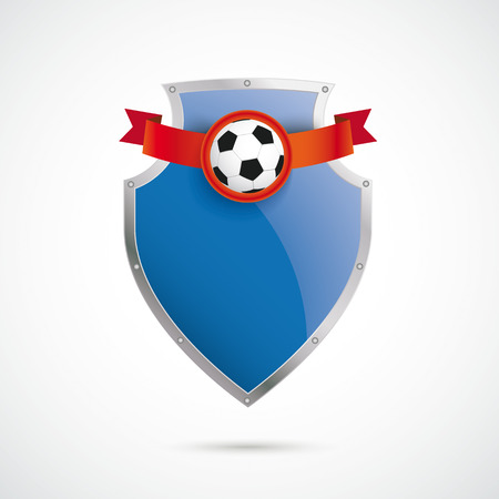 Protection shield with football on the white background.  Vector