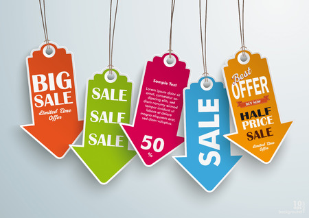 Five colored price stickers on the grey background. Vector