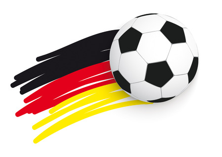 German flag with football on the white background. Vector