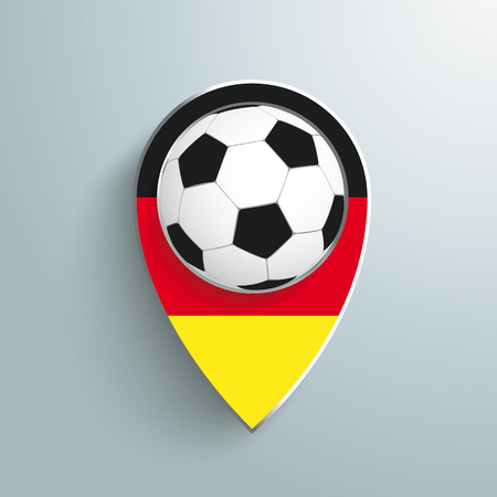Marker with football on the grey background.  Vector