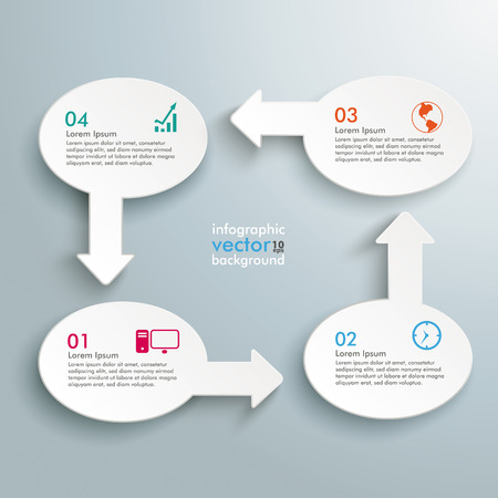 Infographic with white ovals on the grey background.   Vector
