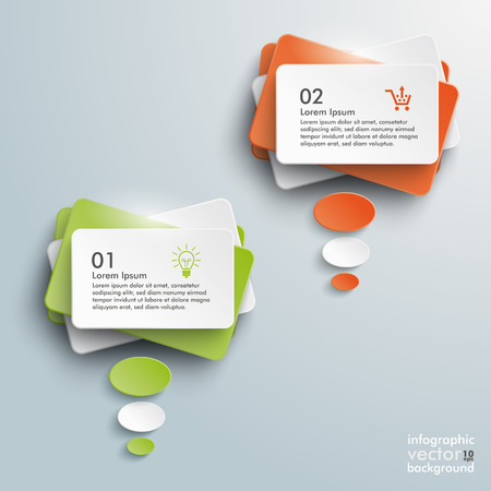 Infographic design with colored communication bubbles on the grey background.  Vector