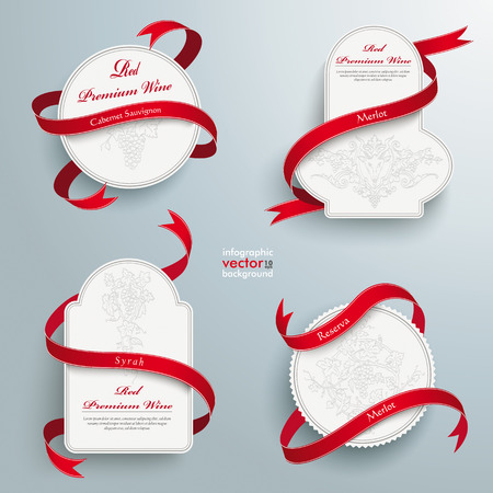 Infographic design white wine emblems and long red flags on the grey background. Eps 10 vector file. Ilustração