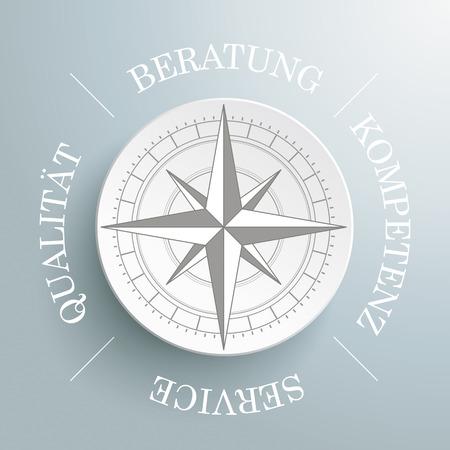 """Weiß Kompass auf dem grauen Hintergrund. Weiß Deutsch Text """"Beratung, Kompetenz, Service Qulität"""", übersetzt """"Beratung, Kompetenz, Service, Qualität"""" Eps 10 Vektor-Datei. Vektorgrafik"""