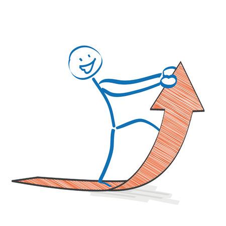 stickman: Stickman with orange arrow on the white background.