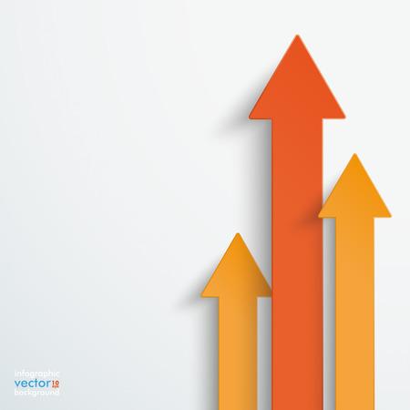 Oranje pijlen op de grijze achtergrond. Stock Illustratie