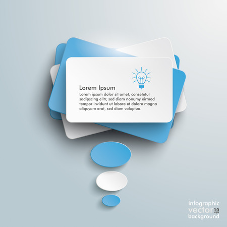 Infographic design with blue communication bubbles on the grey background. Vector
