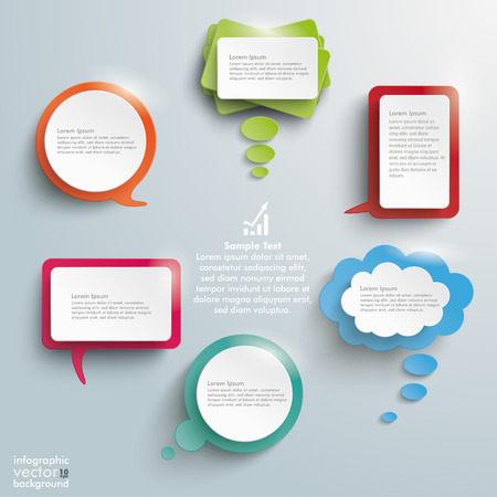 thinking balloon: Infographic design with colored communication bubbles on the grey background. Illustration