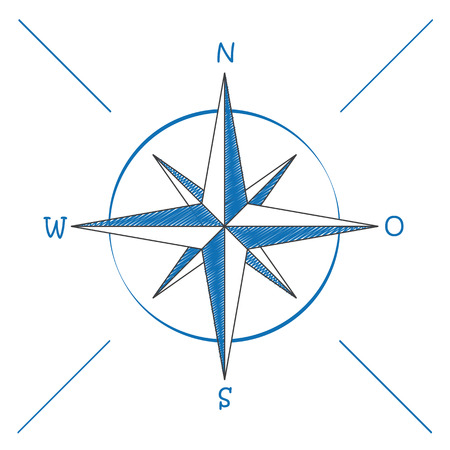 north star: Compas on the white background. Illustration