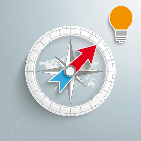 vision future: White compass with bulb on the grey background.