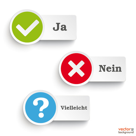 maybe: German text Ja, Nein, Vielleicht, translate Yes, no, maybe round icons on the white background. Eps 10 vector file.