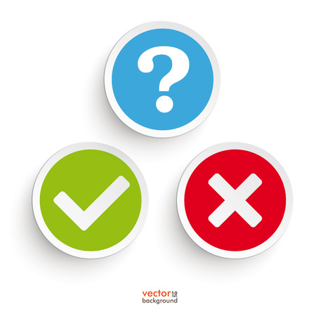 green check mark: Question, yes and no round icons on the white background. Eps 10 vector file.
