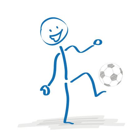 bonhomme allumette: Stickman joue au football sur le fond blanc. Eps 10 fichier vectoriel.