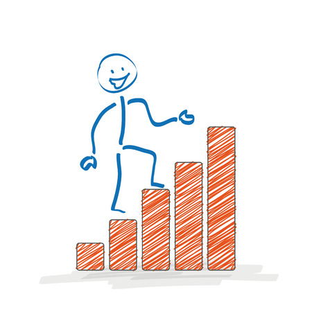 fonds: Stickman with chart on the white background. Illustration