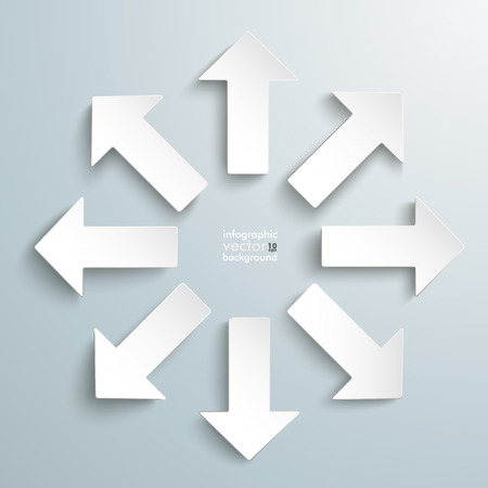directions icon: 8 white arrows on the grey background.  Illustration