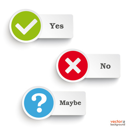 yes or no: Yes, no and maybe round icons on the white background. Eps 10 vector file.