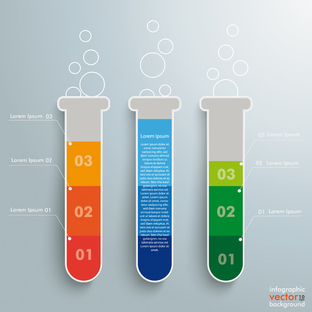 assay: Infographic with lab tubes on the grey background. Eps 10 vector file.