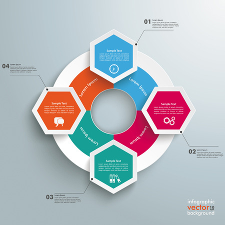 comb out: Infographic with hexagons and rhombus on the grey background. Eps 10 vector file. Illustration
