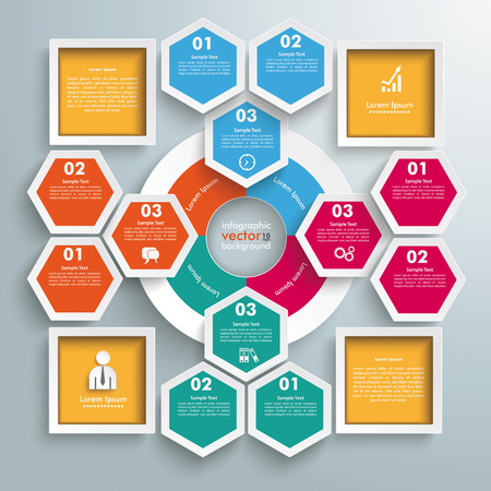Infographic with hexagons and rhombus on the grey background. Eps 10 vector file. Vector