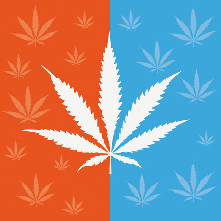 analgesics: Cannabis leave on the blue and orange background. Eps 10 vector file.