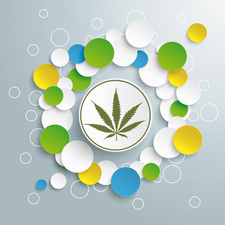 analgesics: Cannabis leave with circles on the grey background. Eps 10 vector file.