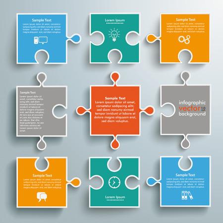 conectar: Rompecabezas de papel de colores sobre el fondo gris. EPS 10 archivos de vectores.