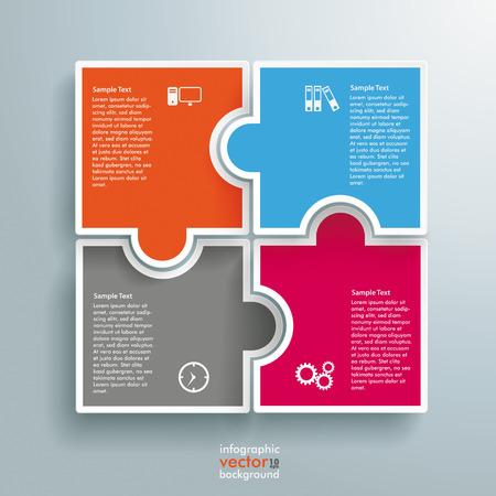 Infografía con colores piezas del rompecabezas rectángulo en el fondo gris. EPS 10 archivos de vectores.