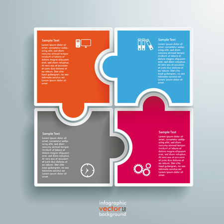 four objects: Infographic with colored rectangle puzzle pieces on the grey background. Eps 10 vector file. Illustration