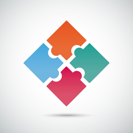 Infographic with colored puzzle pieces on the grey background. Eps 10 vector file.