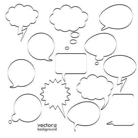 halfone: Infographic design with black communication bubbles on the white background. Eps 10 vector file.