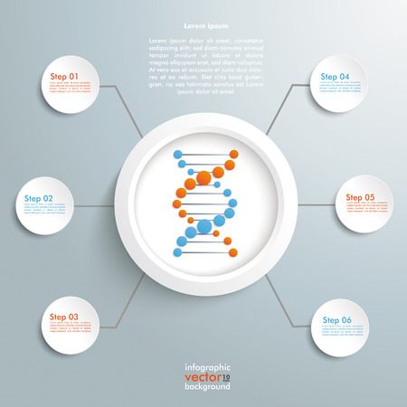 DNA in the ring with circles on the grey background. Eps 10 vector file.