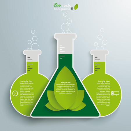 Tube infographic with eco leaves on the grey background. Eps 10 vector file. Vector