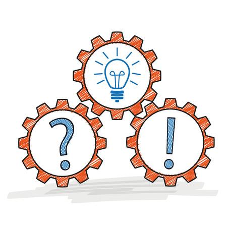 Gears avec ampoule, question et point d'exclamation sur fond blanc. Eps 10 fichier vectoriel. Vecteurs