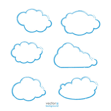 cloud shape: Clouds set on the grey background. Eps 10 vector file. Illustration