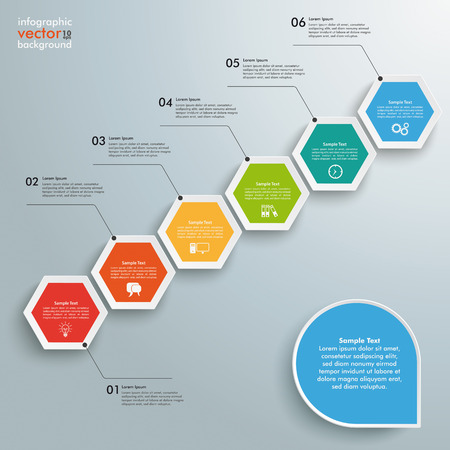 six objects: Infographic with hexagons on the grey background. Eps 10 vector file.